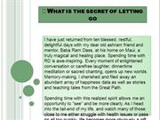 What is the secret of letting go