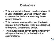 Derivatives and Differentiation