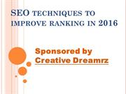 SEO techniques to improve ranking in 2016