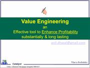 Cost Reduction Value Engineering