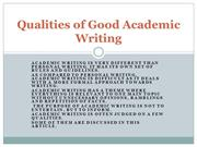 Academic Writing-Qualities of Good Academic Writing
