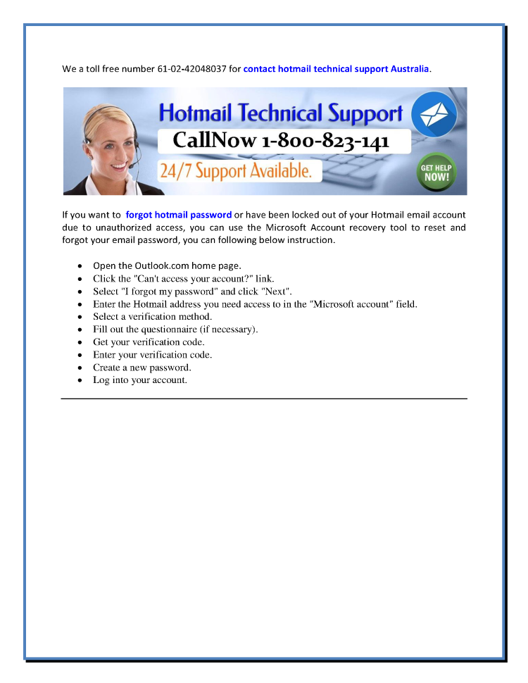 Hotmail home page australia
