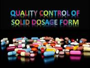 Quality control of solid dosage form