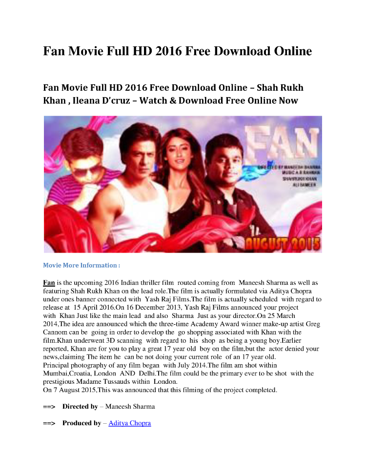 Fan Movie Full Hd 2016 Free Download Online Authorstream
