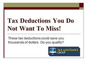 Tax Deductions You Do Not Want to Miss