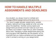 Assignment Writing-How to Handle Multiple Assignments and Deadlines