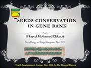 Seeds conservation in gene bank 2014 Egyptian deserts Gene Bank