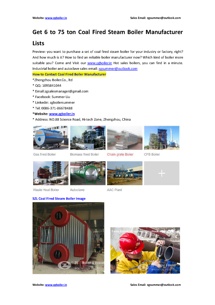 Get 6 to 75 Ton Coal Fired Steam Boiler Manufacturer Lists |authorSTREAM