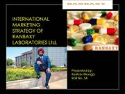 INTERNATIONAL MARKETING  STRATEGY OF RANBAXY LABORATORIES Ltd
