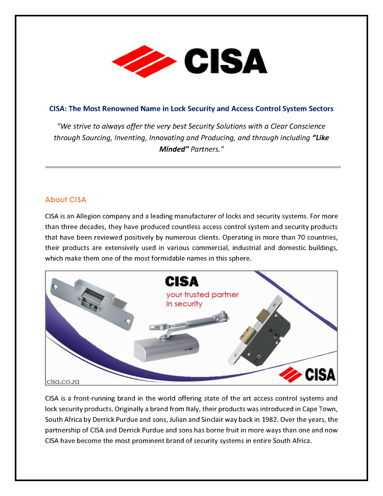 CISA - Leading Brand in the Lock Security And Access Control
