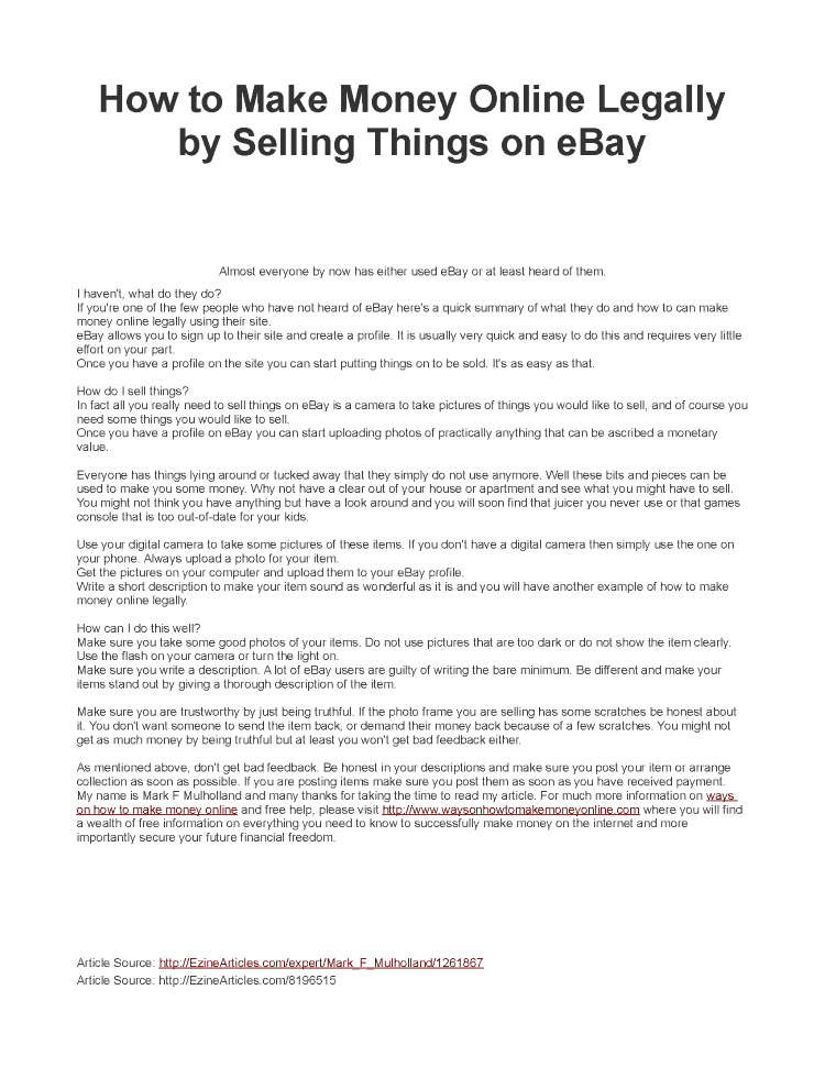 Selling Things Online - Best Way to Make Money from Home |authorSTREAM