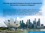 Select Right Business Structure and Incorporate a company in Singapore