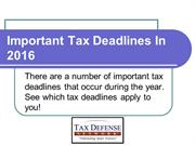 Important Tax Dates for 2016