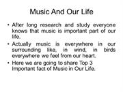 Music And Our Life