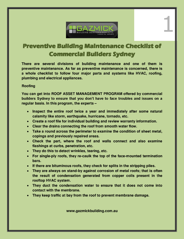 Preventive building maintenance checklist of commercial Builders checklist