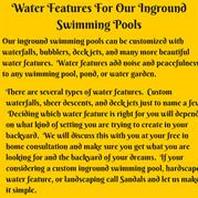 Water Features For Our Inground Swimming Pools
