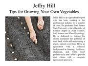 Jeffry Hill - Tips for Growing Your Own Vegetables