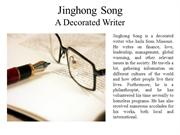 Jinghong Song - A Decorated Writer