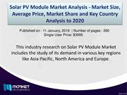 Global Solar PV Module Market Forecast & Analysis(2015-2020)
