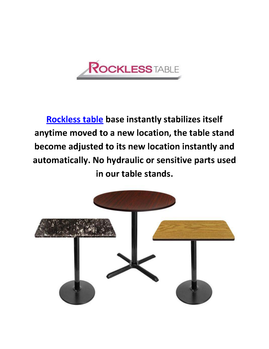 Self Leveling Tables : Rockless self leveling table bases in laguna niguel ca