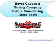 Never Choose A Moving Company Before Considering These Facts