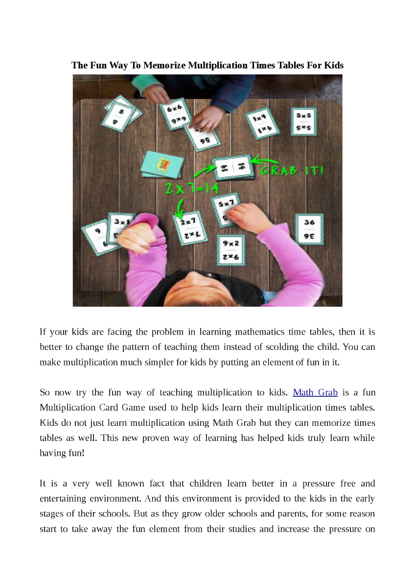 The fun way to memorize multiplication times tables for kids related presentations gamestrikefo Choice Image