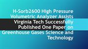 H-Sorb2600 High Pressure Volumetric Analyzer Assists Virginia Tech Suc