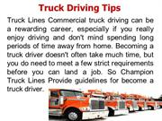 Truck Driving Tips | Champion Truck Lines