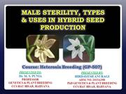 Male Sterility, types and utilization in hybrid seed production (