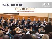 PhD in Music |7533-00-7534| Admission in India