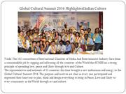 Global Cultural Summit 2016 Highlighted Indian Culture