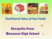 Nutrition Facts of fast Foods