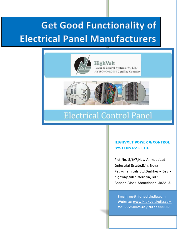 Get Good Functionality of Electrical Panel Manufacturers India ...