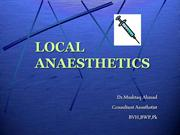 LOCAL ANAESTHETICS ANESTHETICPHARMACOLOGY