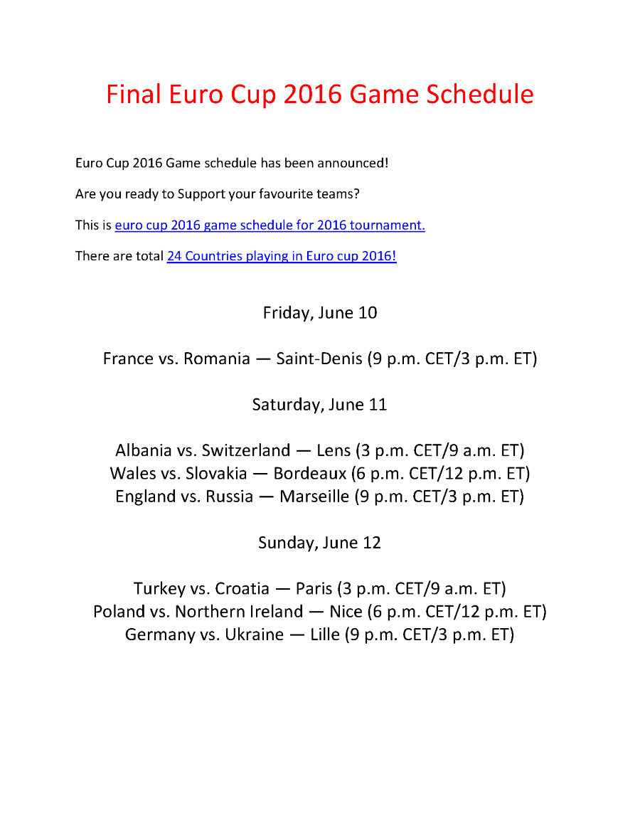 uefa euro 2016 schedule fixtures matches pdf authorstream. Black Bedroom Furniture Sets. Home Design Ideas