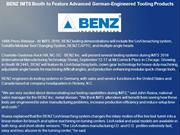 BENZ IMTS Booth to Feature Advanced German-Engineered Tooling Products