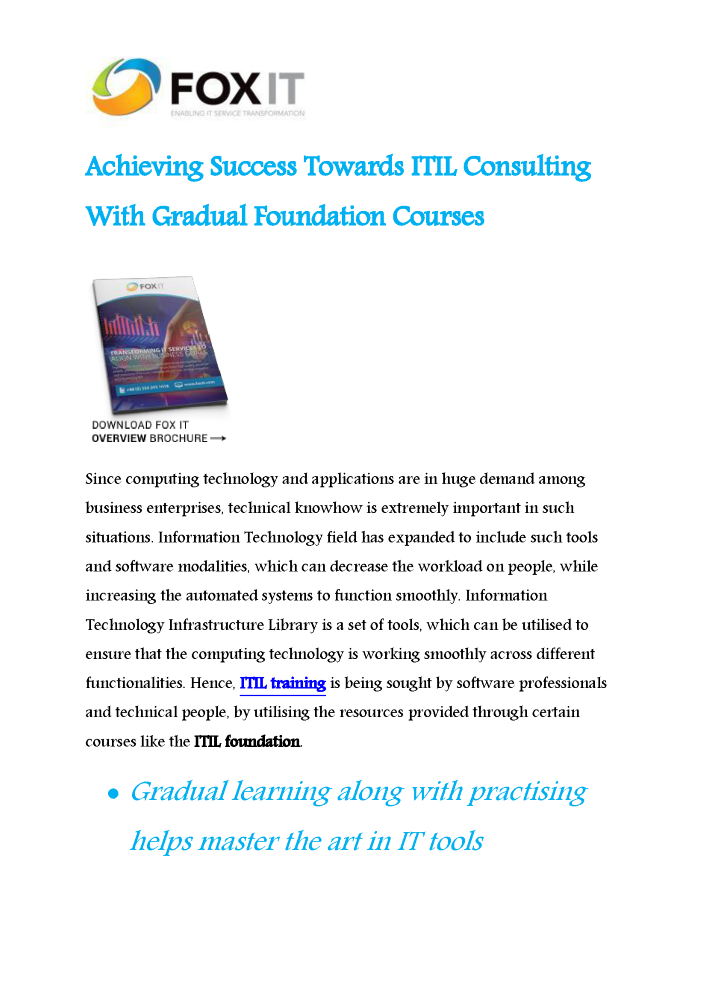 Achieving Success Towards Itil Consulting With Gradual Foundation