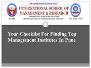 Your Checklist For Finding Top Management Institutes In Pune