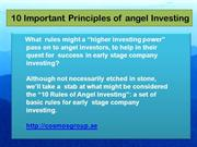 10 Important Principles of angel Investing - Cosmos