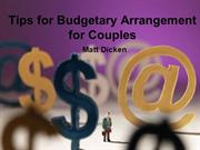 Tips for Budgetary Arrangement for Couples | Matt Dicken