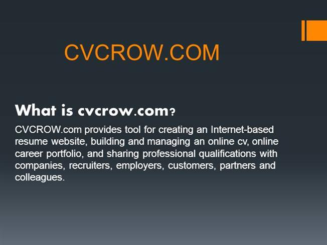 Create Your Unique Professional Resume CV Online   CVCROW.COM |authorSTREAM