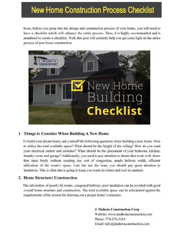 New home construction process checklist authorstream for Home builders checklist