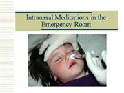 Intranasal drugs in emergency medicine