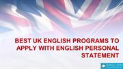 Best UK English Programs to Apply With English Personal Statement