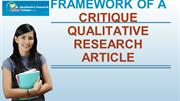Framework of A Critique Qualitative Research Article
