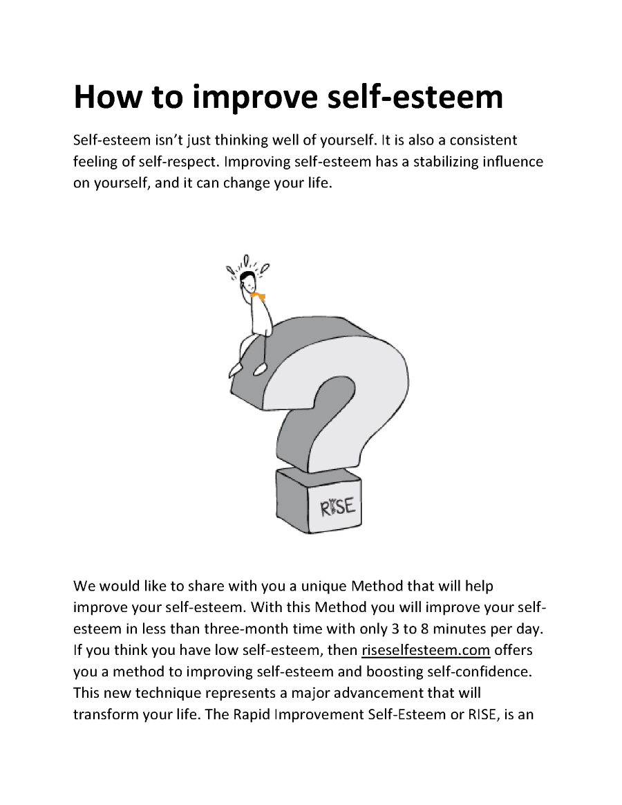 how to improve self esteem in dating The impact of self-esteem on when you improve your self-esteem and your cycle of self-esteem and relationships can start-- your friendliness and.