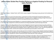 Jeffrey Cohen Golden Pear Funding Parleys on Litigation Funding