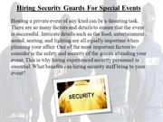 Hiring Security Guards For Special Events
