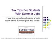Tax Tips For Students Working at Summer Jobs