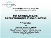Responsibilities of Health Care Systems